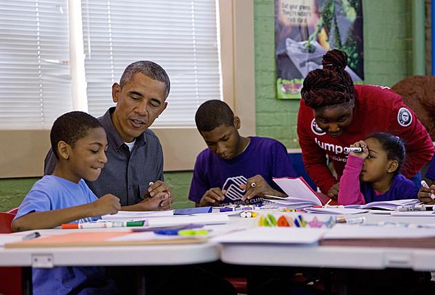 Obama Visits Boys & Girls Club